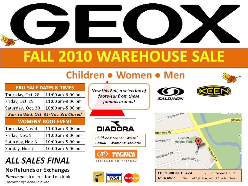 Geox Fall Warehouse Sale Oct 28-30, Nov 4-7 ENDED